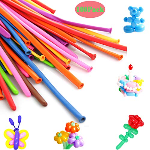 SYNUO 100pcs Thick Mixed Color Latex Magic Twisted Long Balloon, Balloon Animal Kit, Suitable for Birthday Decoration, Clown Dress, Baby Shower Wedding Decoration.]()