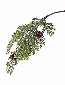 artplants Künstlicher Zedernzweig Marlon, grün, 10 Blätter, 2 Zapfen, 45 cm - Deko Zweig Weihnachten/Kunst Zweig Herbst