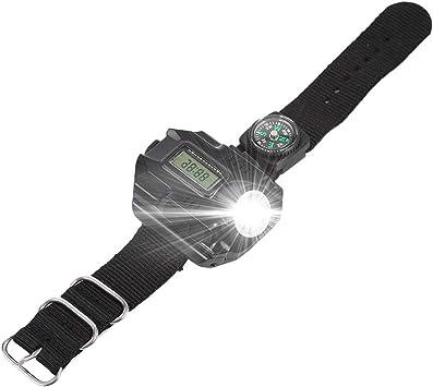 Linterna de muñeca Antorcha de luz USB recargable resistente al agua Reloj de linterna LED con brújula para correr Escalada de montaña Supervivencia ...
