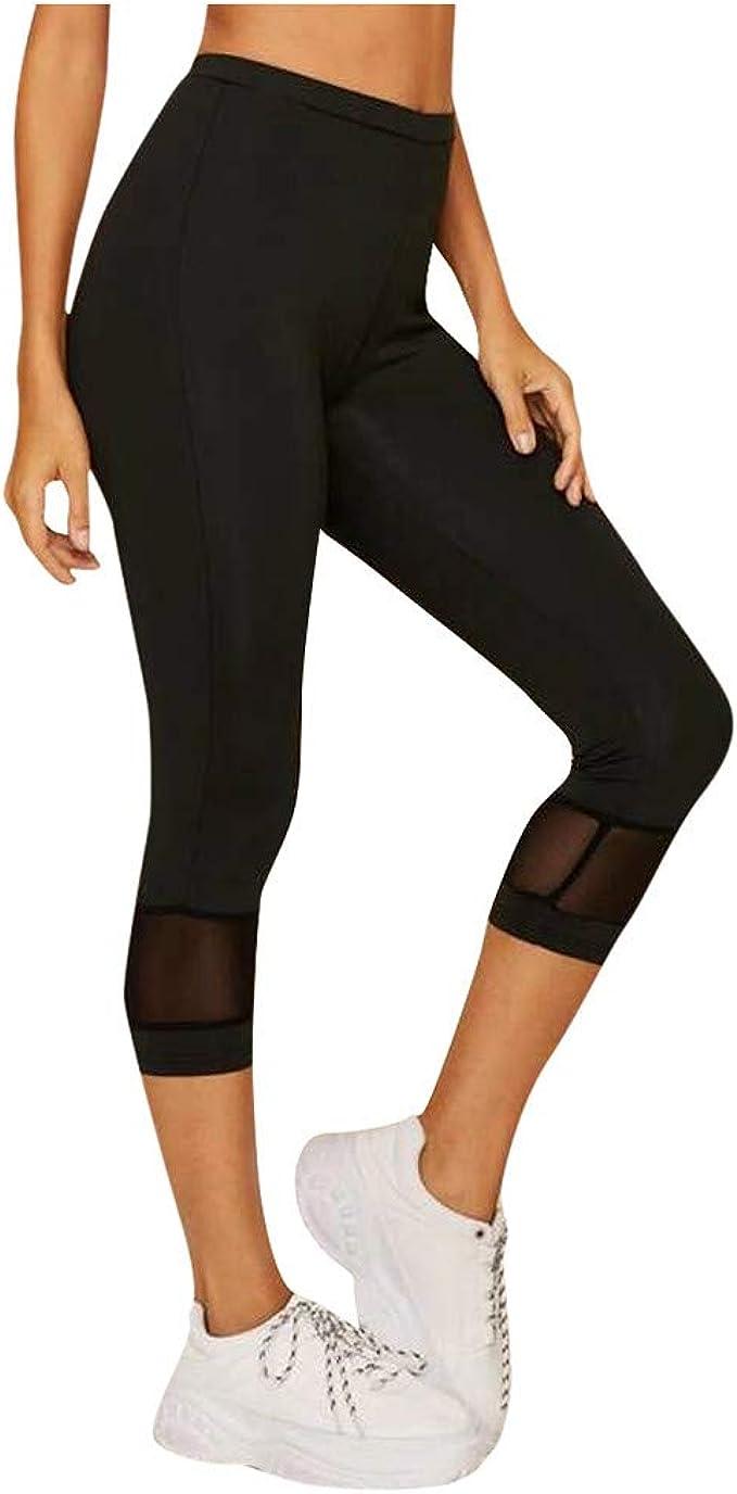 Leggings Fitness de Algodón Mujer, Pantalones de Cintura Elástica ...