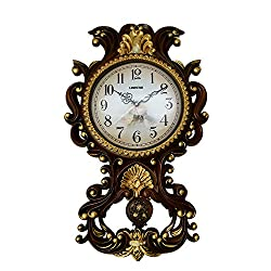 Polished Antique Decorative 26X16 Polyresin Hand-Painted Wall Clock w/Swinging Pendulum