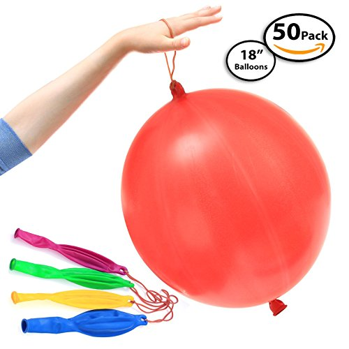 "50-Pack of Jumbo Punching Ball Balloons for Parties - Inflates Up To 18"" Inch - Assorted Beautiful Colors - 100% Pure Latex - Safe for Children and Adults - Long Neck for Easy Inflation and Tying"