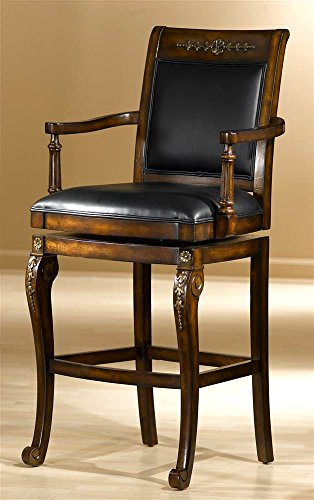 Hillsdale Furniture Wood Swivel Counter Stool with Scrolled Feet and Faux Leather Seat - Douglas (Counter Height)