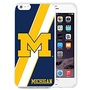 Fashionable And Unique Designed With Ncaa Big Ten Conference Football Michigan Wolverines 5 Protective Cell Phone Hardshell Cover Case For iPhone 6 Plus 5.5 Inch White