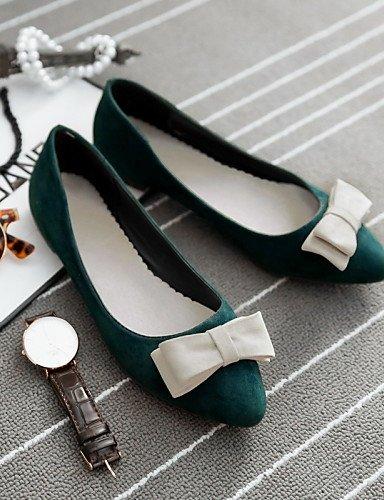Pdx de Plano Negro Talón verde Green Punta Cn36 Eu36 us6 Mujer Sintética Uk4 Piel rojo Toe Zapatos De Flats Casual 041ndxqB1f
