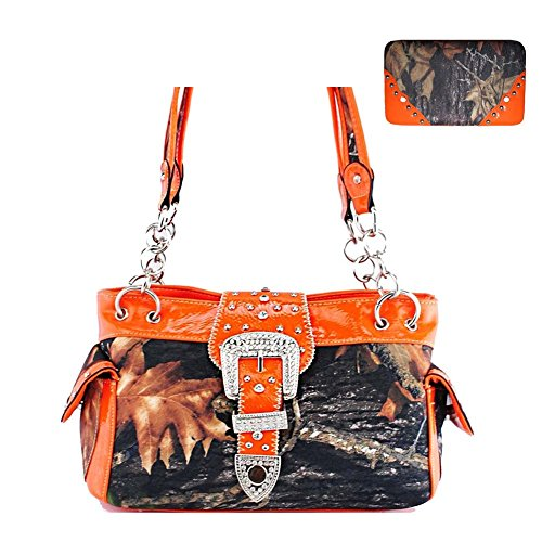 New Style Rhinestone Buckle Concho Camouflage Shoulder Handbag Purse with Matching Wallet in 5 Colors (Orange)