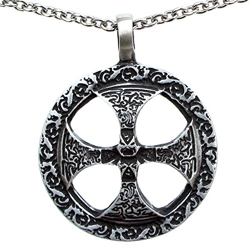 OhDeal4U Celtic Sun Solar Cross Sunwheel Pewter Pendant Pewter Pendant Charm Amulet Necklace (Stainless Steel Chain Necklace) ()