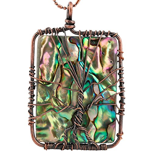 SUNYIK Oblong Rainbow Abalone Shell Tree of Life Pendant Necklace