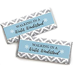 Winter Wonderland - Candy Bar Wrappers Snowflake Holiday Party & Winter Wedding Favors - Set of 24