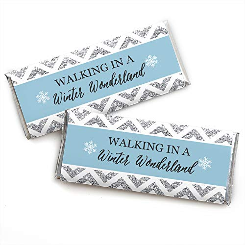 Winter Wonderland - Candy Bar Wrappers Snowflake Holiday Party & Winter Wedding Favors - Set of -