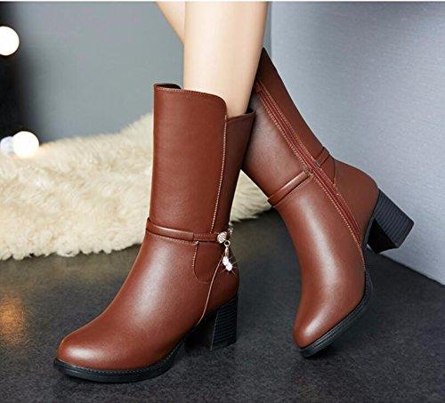 KHSKX-Brown 4Cm Madre Zapatos Botas De Mujer Invierno Algodón De Lana Zapatos Imitación De Cuero De La Versión Coreana De Los Salvajes Y Botas Middle-Aged 36 36