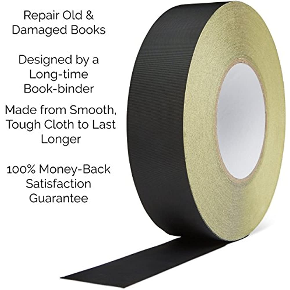 Bookbinding Tape Black Cloth Book Repair Tape for Bookbinders 2 Inches by 45 Feet