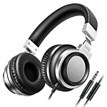 Sound Intone I8 Over-Ear Headphones with Microphone Bass Stereo Lightweight Adjustable Headsets for iPhone iPad iPod Android Smartphones Laptop Mp3 (Black Silver)