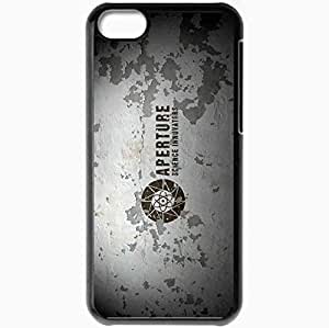 Personalized iPhone 5C Cell phone Case/Cover Skin Aperture Science Innovators Peeling Paint Black
