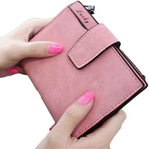 PU Leather Bifold Wallet,Hemlock Women Grind Magic Card Wallet Purse (Pink)