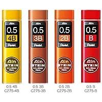 Pentel Ain Stein Mechanical Pencil Lead, 0.5mm B,2B,3B,4B (40 Leads) 1 Each + Original 5 Colors Sticky Notes