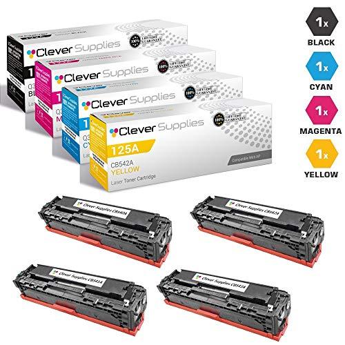 (CS Compatible Toner Cartridge Replacement for HP 125A CB540A Black CB541A Cyan CB542A Yellow CB543A Magenta HP 125A Color Laserjet CM1312 MFP CM1312NFI CM1300 CP1210 CP1215N CP1217 CP1510 4 Color Set)