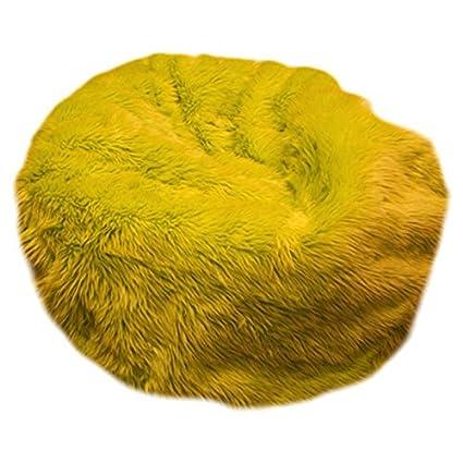 Fun Furnishings Beanbag, Large, Yellow Fuzzy Fur