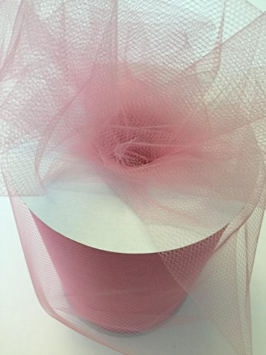 Tulle Fabric Spool/Roll 6 inch x 100 yards (300 feet), 34 Colors Available, On Sale Now! (pink)