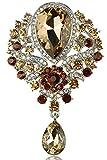 Gyn&Joy Women's Vintage Silver Tone Crystal Rhinestone Flower Wedding Bridal Teardrop Brooch Pin BZ098