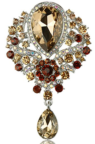 (Gyn&Joy Women's Vintage Silver Tone Crystal Rhinestone Flower Wedding Bridal Teardrop Brooch Pin)