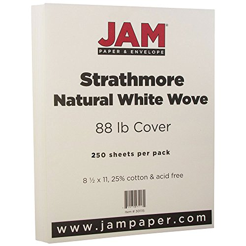 Wove 250 Sheet Business Paper - JAM PAPER Strathmore 88lb Cardstock - 8.5 x 11 Coverstock - Natural White Wove - 250 Sheets/Ream