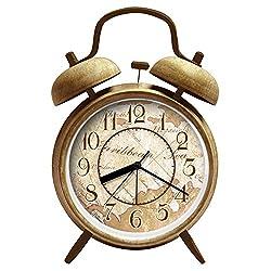 4 Twin Bell Alarm Clock with Backlight ANG Quartz Analog Alarm Clock Non-ticking Retro Classic Beside Alarm Clock Battery Operated Loud Alarm Clock