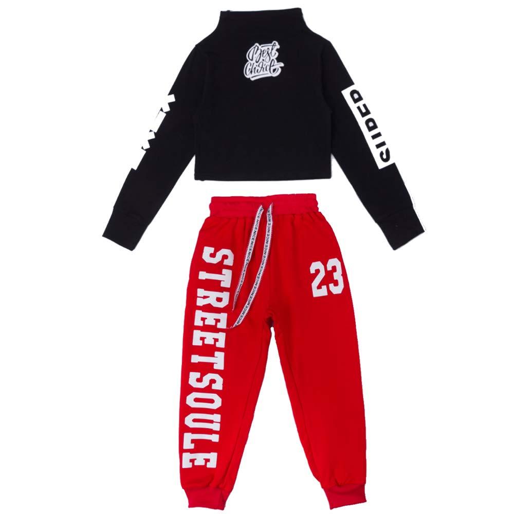 Voleseni Girls Children Modern Jazz Hip-Hop Dancewear Kids Dance Costumes Tops/&Pants