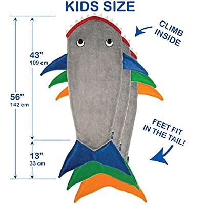 Blankie Tails The Original Shark Blanket for Kids from (Gray and Orange): Home & Kitchen