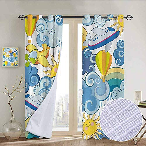 "NUOMANAN Living Room Curtains Sky,Childrens Theme Clouds Smiling Sun Airplanes and Balloons Illustration Print,Yellow and Light Blue,Adjustable Tie Up Shade Rod Pocket Curtain 120""x96"""