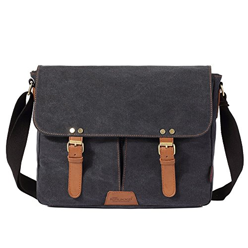 Vintage Men Messenger Bag, Kaukko Canvas Crossbody Shoulder Bags Laptop Briefcase Black by KAUKKO (Image #1)