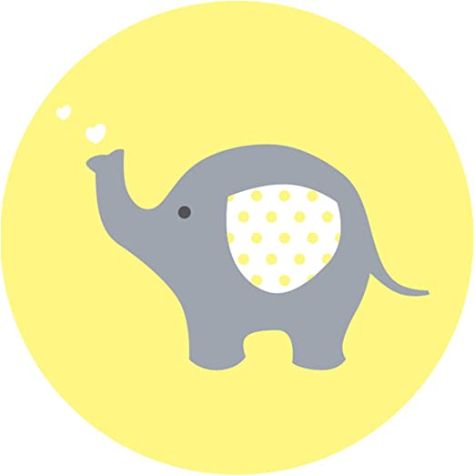 Amazon Com Magjuche Yellow Grey Elephant Baby Shower Stickers Unisex Gender Neutral 2 Inch Party Favor Labels 40 Pack Home Kitchen