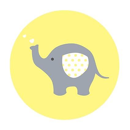 Amazon Yellow Grey Elephant Baby Shower Stickers Unisex Gender