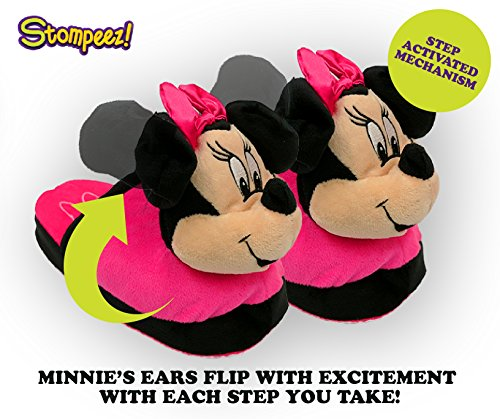 Stompeez Animated Minnie Mouse Plush Slippers - Ultra Soft and Fuzzy - Ears Flap as You Walk - Medium by Stompeez (Image #1)