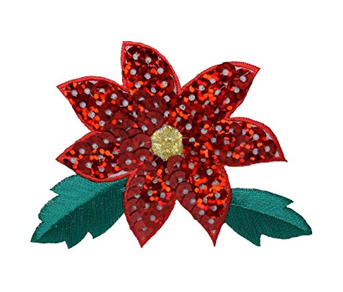 Christmas Sequin Poinsettia/Poinsetta - Red Flower - Iron on Applique/Embroidered Patch