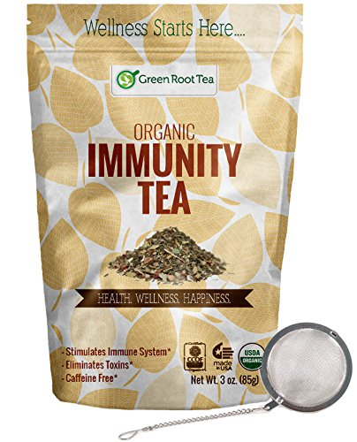 Immunity Herbal Tea - Organic Loose Leaf Tea for Colds & Sore Throat - Caffeine Free - Infuser Included - Green Root Tea (3 OZ.)
