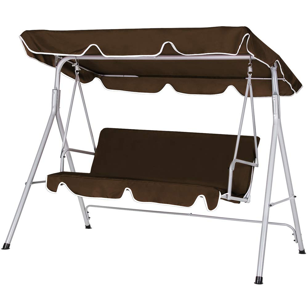 Deuba Hollywoodschaukel | UV-Schutz 50+ 3-Sitzer Metallgestell | Gartenschaukel Gartenliege Schaukelbank Gartenmöbel Braun