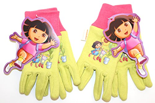 Gardening Gloves for Kids (2-pack) - Jersey Work Gloves for Kids, Featuring Dora the Explorer and Boots - 100% Cotton - Absolutely Adorable (these glove are for very small hands see dimensions below)