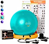 ball chair frame - Exercise Ball Chair - 65cm & 75cm Yoga Fitness Pilates Ball & Stability Base for Home Gym & Office - Resistance Bands, Workout Poster & Pump. Improves Balance, Core Strength & Posture - Men & Women