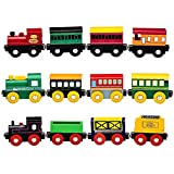 wooden train cars - Playbees 12 Piece Wooden Train Cars Magnetic Set Includes 3 Engines, Magnet Train Toy Collection for Toddler Boys and Girls, Compatible with Most Name Brand Wood Tracks