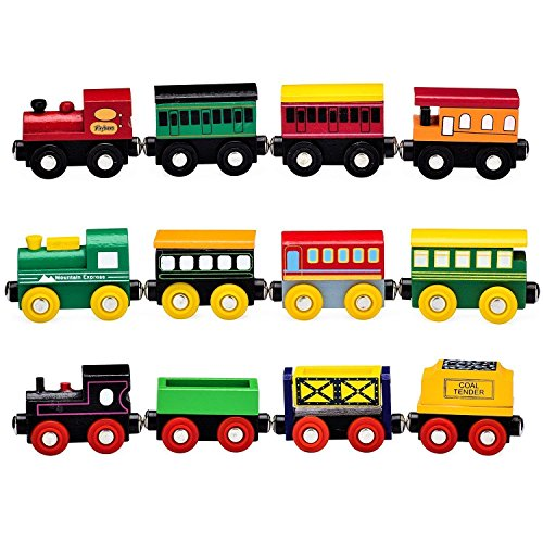 Playbees 12 Piece Wooden Engines And Train Cars Set