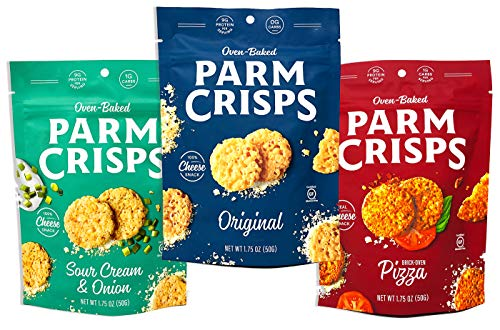 ParmCrisps 3 Flavor Variety Pack 100% Cheese Crisps - Keto Friendly, Gluten Free, 1.75 Ounce Bag - Sour Cream & Onion, Original, and Pizza