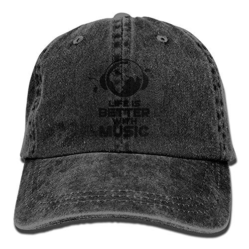 large-scale Life is Better with Music Denim Hat Adjustable Womens Baseball Cap BlackOne Size ()