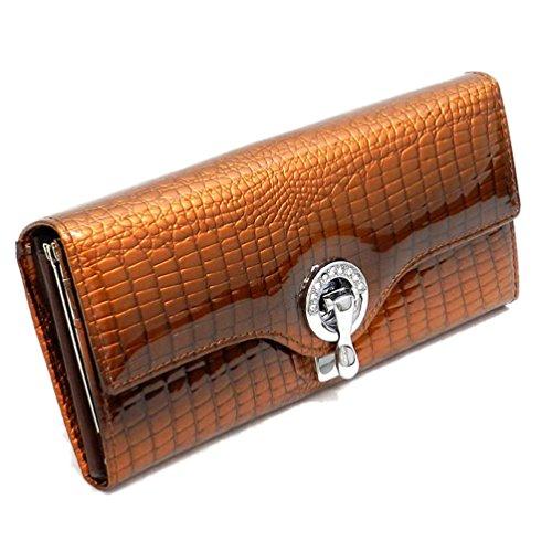 Organizer Multi Clutch Crocodile Pattern Womens Genuine Aw042 Wallet Brown Leather Wallet xqZ0gwn6F