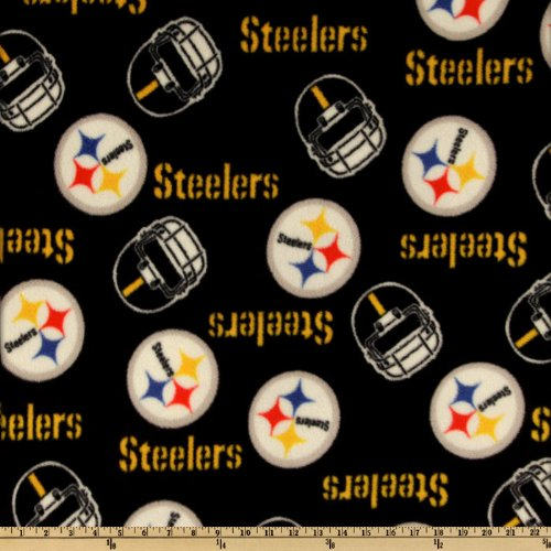 NFL Fleece Pittsburgh Steelers Black Fabric By The Yard by Fabric Tradtions