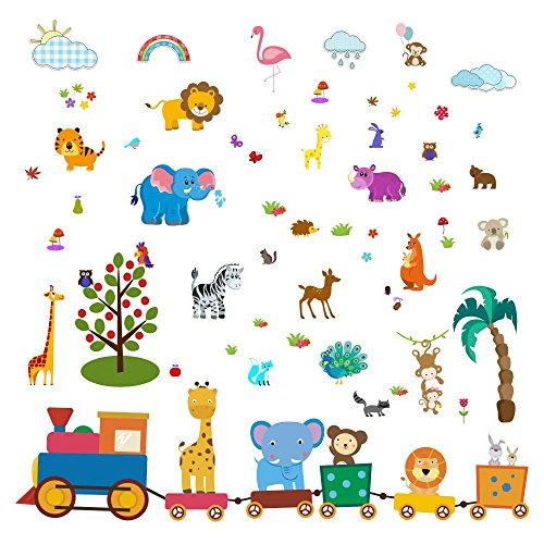 Baby Jungle Animal Wall Decals for Nursery: Multiple Decorative Peel and Stick Animal Train Removable Art Mural, Safari Animal Vinyl Stickers for Baby, Nursery & Children's Room by LESONIC