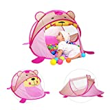 Loisleila Large Baby Play Tent Foldable Children Beach Play House Indoor Outdoor Toys Tents Pop Up Kids Tent House(Pink Bear)