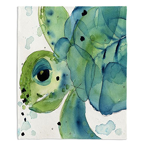 "Dia Noche Fleece Blankets Soft Fuzzy 4 Sizes! by Dawn Derman Sea Turtle - Toddler 40"" x 30"""