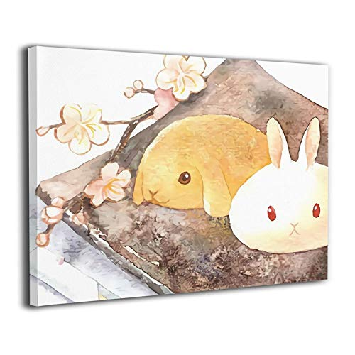 - Sunny-D Cute Yellow White Rabbit Oil Paintings Printed On Sketched Framed Canvas Wall Art Wall Decor Bedroom Dining Room Kitchen Living Room