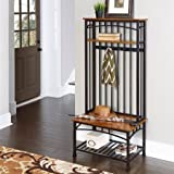 Modern Craftsman Hall Tree in Oak, Traditional Distressed Oak Finish on Oak Veneer Shelves, Deep Brown Powder-Coated Metal, Two Fixed Shelves, Four Double Hooked Coat Rings, Solid Wood Bench
